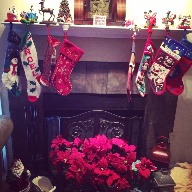 My mom's mantle. Always so done up. Christmas is her favorite holiday.